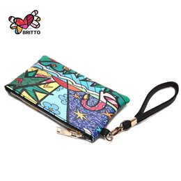 Wholesale Multifunctional Coin Purse - Wholesale- Purchase BRITTO PU Clutch Wallet For Passport & Key Hot Sales Fashion Graffiti Style Multifunctional Small Zipper Open Purse