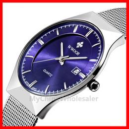 Wholesale Thin Band Digital Watch - 5pcs lot, WWOOR Watches New Top Luxury Watch Men Brand Men's Watches Ultra Thin Stainless Steel Mesh Band Quartz Wristwatch Fashion Watches