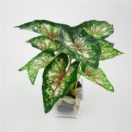 Wholesale Small Leaves Plants - Wholesale-Home Decoration Artificial Green Plants Plastic Fake Flower Leaves Mini simulation small potted green plant taro leaves