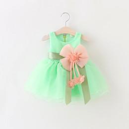 Wholesale Lolita Prom Dresses - baby girls princess party dresses girl prom dress Big Bowknot Voile Dress Shining Flower girl Wedding dress LC348