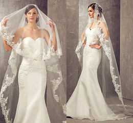 Wholesale Bridal Veils Lace - 2017 Best Selling 3 Meters Long Cheapest Chapel Length White Ivory Bridal Veil Lace Appliques 2018 Veu De Noiva Longo Wedding Veil CPA859