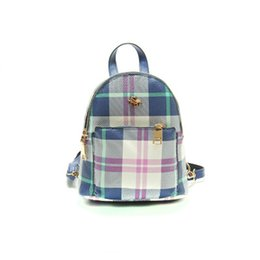 Wholesale Mini Buckets Purple - 2017 New Youth personality Cute Mini Plaid backpack fashion student all-match tassel tide wind Backpack 1324