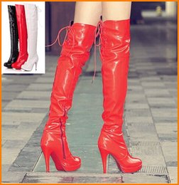 Wholesale High Heels Night Club - Wholesale-Large size 40 41 42 43 Free shipping high heel boots patent leather sexy party over the knee boots night club shoes 8C8-0A