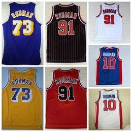 Wholesale Retro Materials - Retro 10 Dennis Rodman Jersey 73 Rev 30 New Material 91 Dennis Rodman Throwback Basketball Jerseys Shirt Uniform Blue Yellow White Red
