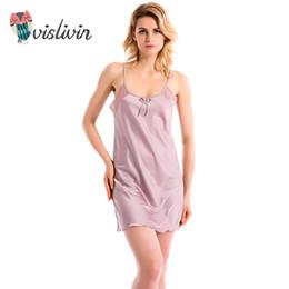 Wholesale womens silk bathrobe - Wholesale- Vislivin 2017 Women's Summer Sexy Sleeveless Sleeve Belt Sleeve Skirt bathrobes Womens nightdress silk lingerie