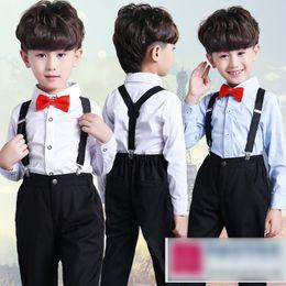 Wholesale Tie Downs Straps - Fashion New Gentleman Boys Outfits Set T-shirts Bow Tie Tops + Suspender Strap Trousers Pants 2piece Sets Suits Kids Clothes Boy Sets A7025