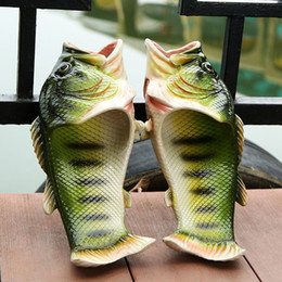 Wholesale Green Personality - Family Slipper Creative Type Fish Slippers Woman Handmade Personality Fish Sandals Kids Women Bling Flip Flops Slides Fish Beach Slippers