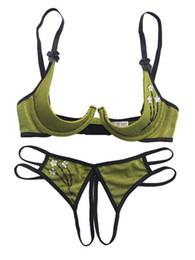 Wholesale BH Open Cup Crotchless Panties Damen Unterwäsche Dessous Set Conjunto Ropa Interior Mujer BH und Panty Set Sujetador Encaje