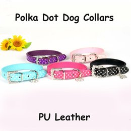 Wholesale Cute Cartoon Heart - 6 Colors 4 Sizes Polka Dot PU Leather Dog Collars Pet Cat Cute Puppy Collars Strap Leash Rope With Heart Diamant Free Shipping Adjustable