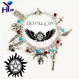 Wholesale Supernatural Dean Winchester - Wholesale- Movie Jewelry Supernatural Charm Vintage Bracelets Fashion Women Jewelry Multilayer Dean Sam Davils Winchester Gifts Souvenir