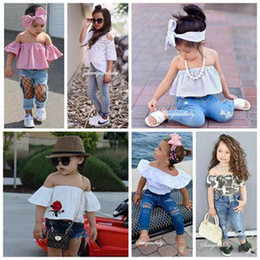 Wholesale Kids Girls Jeans - 2017 summer girls boutique clothing sets kids headbands off the shoulder tank tops shirts ripped jeans denim pants outfits children clothes