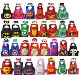 Wholesale Batman Costume Cape - Batman Kids Superhero 2 Layer Cape+Mask Children Boy Girls Costume Cosplay Mask Halloween Party Costumes Kids Captain Costume 29set lot