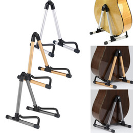 Marco de piso online-Muzitech SK20 Soporte plegable universal para bastidor de guitarra A-Frame Soporte para bastidor para guitarra acústica Guitarra eléctrica Bajo 3 colores