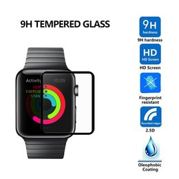 Wholesale Premium Watches - 3D Full Screen Premium Tempered Glass Film Screen Protector Protective Cover For Apple Watch Iwatch 38mm 42mm Black