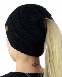 Wholesale Wholesale Women Cloths - Christmas gift 100PCS Women CC Ponytail Caps CC Knitted Beanie Fashion Girls Winter Warm Hat Back Hole Pony Tail Autumn Casual Beanies