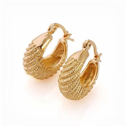 Wholesale Real 24k Gold Earrings - Pure 24k Real yellow Solid gold GF Carved hoop earring 22*18mm lady women New jewelry Unconditional Lifetime Replacement Guarantee