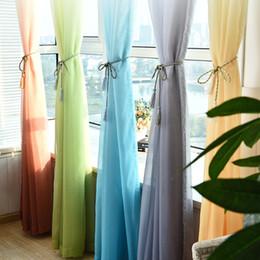 Wholesale Decoration Window Curtain - Tulle Curtains Decorations Window Living Room Divider Sheer Voile Curtain Single Panel High Grade Thickened Gradient Hot Sell 15hq J R