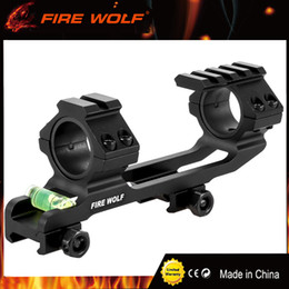 2019 el alcance del rifle monta los carriles FIRE WOLF Hunting Scope Mount Dual Ring con Spirit Bubble Level Fit 20 mm Picatinny Rail para tactil Rifle Scope 25.4 / 30mm el alcance del rifle monta los carriles baratos