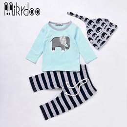 Wholesale Kids Tshirt Cotton Girl - Mikrdoo Fashion Boy Girl Clothes Infant Baby Toddler Outfits Kids Elephant Logo Printed Sky Blue Tshirt Striped Pants Hat 3PCS Clothing Suit