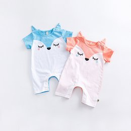 Wholesale Baby Animal Bodysuits - Cute fox baby romper Baby girl clothing Twins Onesies Bodysuits short sleeve Baby clothing Infants clothes 100%cotton briefs 0-2years