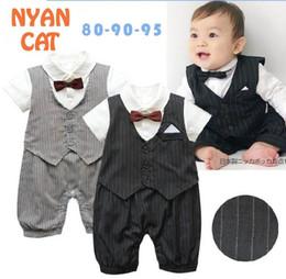 Wholesale Boys Bow Tie Vest - Baby Boys Rompers Gentleman Stripe Bow Tie Vest Short Sleeve One Piece Jumpsuits Infant Overalls E13055