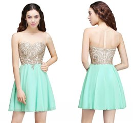 Wholesale Mint Chiffon Maternity Dress - In stock Hot Mint Green Chiffon Short Homecoming Dresses Sheer Jewel Neck Gold Appliqued With Beads A Line Graduation Party Dresses CPS674
