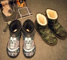 Wholesale Skull Knee Boots - 2016 winter snow boots male camouflage warm skull short cylinder thickening waterproof waterproof skid men boots