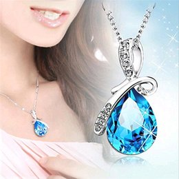 Wholesale Cheap Fashion Necklaces For Women - 10 pcs Multicolor Fashion Silver jewelry High quality Austrian crystal pendant necklace For Women Girl Jewelry gift Cheap Wholesale