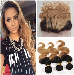 Wholesale Strawberry Blonde Weave - #1B 27 Honey Blonde Ombre 360 Lace Frontal With Bundles Body Wave Strawberry Blonde Ombre Brazilian Human Hair Weaves With 360 Lace Closure