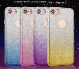 Wholesale Diamond Case Lg - 2017 Bling-Bling Case For iPhone 7 Case iPhone 6s Samsung Galaxy S7 S7edge S6 TPU+PU+PC 3in1 Diamond Gradient Shining Case