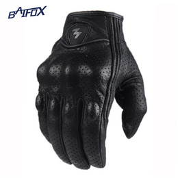 Wholesale Perforated Leather Gloves - Wholesale- Retro Perforated Leather Motorcycle Gloves Cycling Moto Motorbike Protective Gears Motocross Glove winter man female off road