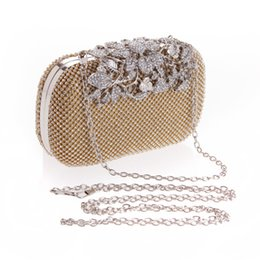 Wholesale Black Formal Clutch - Luxurious Diamond Crystals Women Bridal Party handbags Clutch Evening Bags Black Silver Gold with Chains CPA809