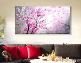Wholesale Tree Life Abstract Hand - Tree with Flowers,Pure Hand Painted Modern Wall Decor Landscape Pop Art Oil Painting On High Quality Canvas.Multi customized size