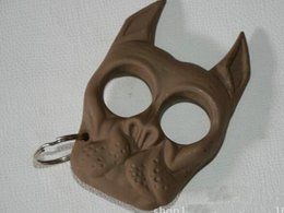 Wholesale Breaking Head - Brutus Bulldog Head Survival Keychain self defense Brass knuckle dusters Portable Plastic Iron Fist Windows Broken Duron Drill Finger Ring #