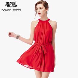 Wholesale naked dresses - Wholesale- NAKED ZEBRA 2016 Summer Cute Halter Dress Creative Design High Quality Chiffon Sleeveless Dress Holiday Short Backless Sundress