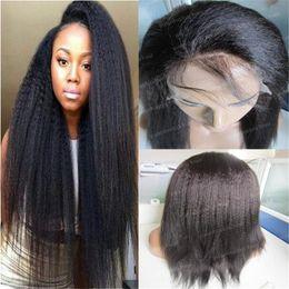 Wholesale Malaysian Glueless Full Lace Wigs - Quality 8A coarse yaki human hair wig 12-24inch virgin hair glueless lace wig 150% density malaysian kinky straight full lace wig