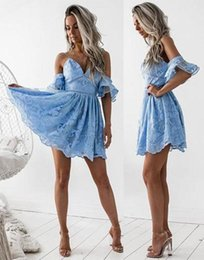 Wholesale Cute Cocktail - Cute Ocean Blue Lace Short Cocktail Dresses Sexy Backless A Line V Neck Mini Party Homecoming Dresses Graduation Gowns Cheap 2017