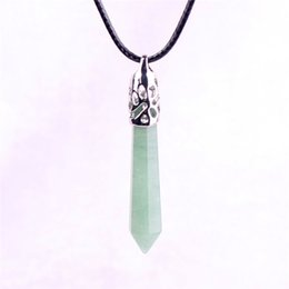 Wholesale Natural Amazonite - Green Aventurine Jade Pillar Stone Necklace Natural Crystal Hexagonal Gemstone Amazonite Healing Point Prosperity Confidence Witch Necklace