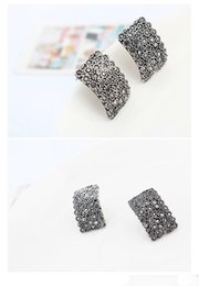 Wholesale Ear Jewellry - Classic Earrings Square Shape Crystal Rhinestone Ear Stud Earrings Luxury Jewelry Chic Design Silver Earings Accessories Jewellry Free DHL