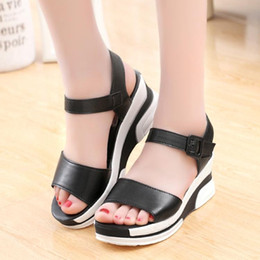 Wholesale Thick Black Wedges For Women - Women new fashion platform shoes Korean casual thick bottom Wedge Sandals with black color for girls