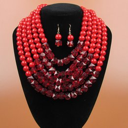 Wholesale Red Beaded Earrings - Europe and the United States accessories fashion string beads necklace earrings two sets