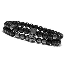 Wholesale 6mm Metal Beads - Steampunk Metal Smile Skull Bracelets Set Elastic 6mm Black Beads Chain Skeleton Men Bracelets Sets Male Hand Accessories