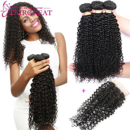 Wholesale Cheap Human Curly Weave - Brazilian Curly Human Hair Weaves Brazilian Human Hair Bundles With Closure 3Pcs lot Cheap Brazilian Human Hair Weaves With Lace Closure