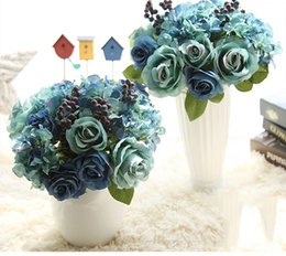 Wholesale Tied Table - Wholesale free shipping artificial silk blue rose hydrangea bouquet hand tied bouquets for wedding home bedroom champer table decoration