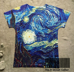 Wholesale vintage ship painting - Wholesale-Track Ship+Vintage Retro Cool Rock&Roll Punk T-shirt Top Tee Abstract Painting Blue Cloud 0120