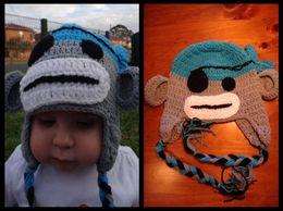 Wholesale Baby Pirate Caps - Pirate Sock Monkey Crochet Knitted Hat Newborn Infant Toddler Baby Girl Boy Caps Winter Kids Children Animal Beanie Photo Props 100% Cotton