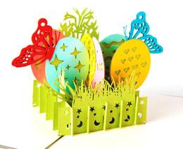 Cartões vintage da páscoa on-line-Cartão 3D Do Vintage Handmade Criativo Kirigami Origami Páscoa pintado em casca de ovo Estale Cartões de Presente Cartão postal venda quente