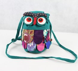 Wholesale Cross Stitch Cotton Fabric - Chinese Ethnic Character Cloth Handmade Preschool Baby Kids School Bags Owl Colorful Stitch Children Fashion Bag Small Purse Phone Bag