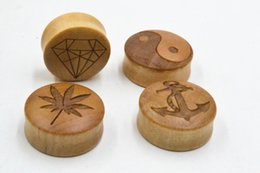 Wholesale Anchor Ear Plugs - 110PCS Wood Anchor Pot Leaf Ear Plug Ear Expander Body Jewelry Gauges Stretchers 10mm up to 30mm Earlets Stretcher Ear Piercing NEW