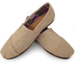 Wholesale Men Pedal Shoes - Tom linen flats, breathable casual shoes for men and women linen, a pedal lazy canvas shoes zebra large canvas shoes EUR35-45